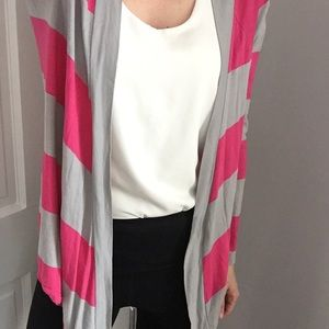 Express Pink and Gray Striped Cardigan